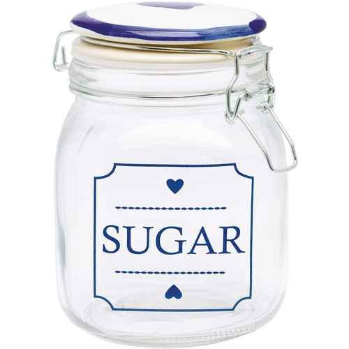 GreenGate Glasburk - Glass Storage Jar - Amanda Indigo Square - 1000 ml a1b255d72066d
