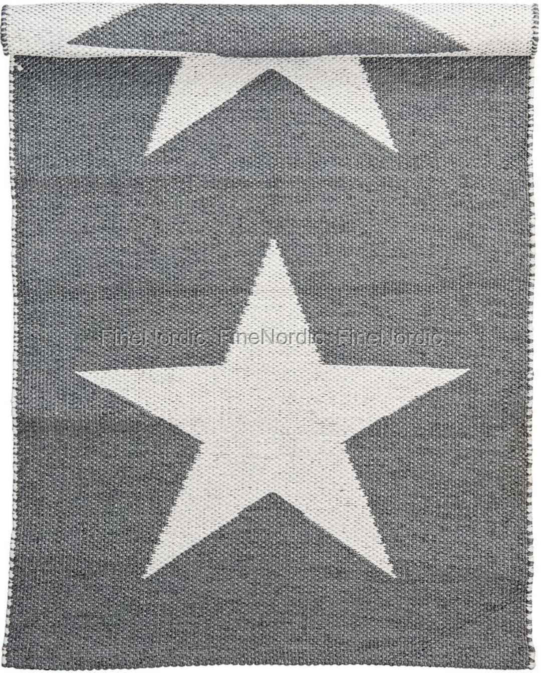 Bloomingville PVC Matta - Grå med Off White Stjärna - 60x120 cm a3d00b058901c