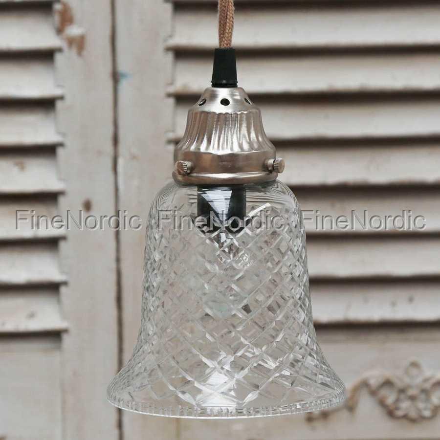Chic Antique Hänglampa Klocka Glas med Baldakin H 19 cm