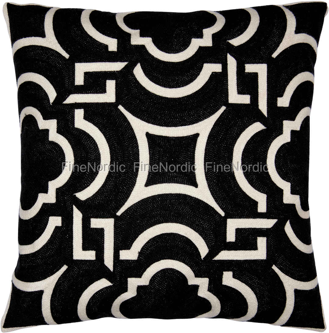 Greengate Gatenoir Kuddfodral Cushion Art Deco Black Embroi Allover  Cm